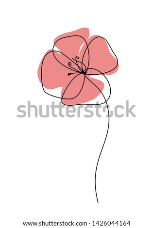 Poppies flower continuous line drawing. Abstract minimal poppy. Editable vector line. Poppy flower icon, logo, label. Сток-фото ©