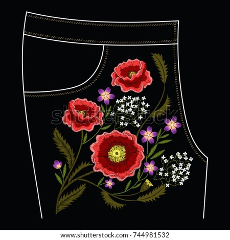 Poppy embroidery stitches for jeans vector traditional fashion decoration