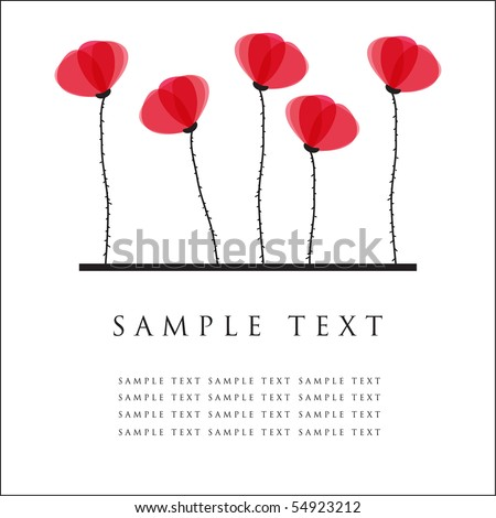 Poppy flowers. Design for greeting card