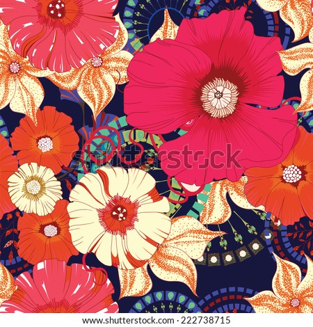 poppy seamless pattern eps 10
