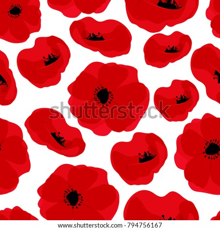 Poppy seamless pattern. Red poppies on white background. Can be uset for textile, wallpapers, prints and web design. Vector illustration