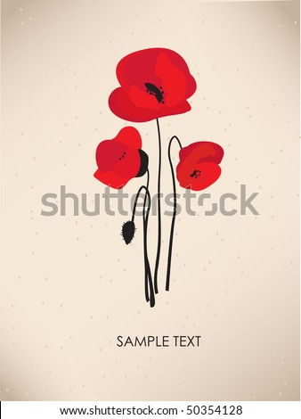 Poppy. Vintage greeting card