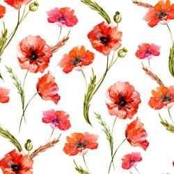 poppy, watercolor, background, flowers
