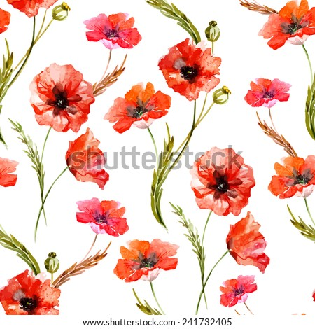 poppy  watercolor  background