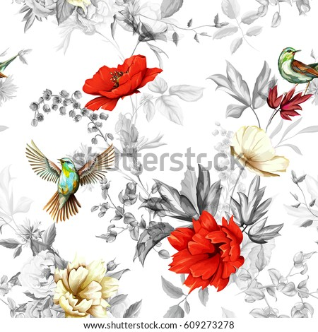 Poppy, wild flower, nightingale bird with leaves on black and white background. Seamless pattern. Watercolor, hand drawn, vector - stock #609273278