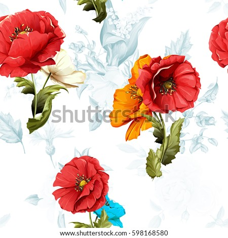 poppy  wild rose and