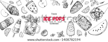 Popsicle ice cream, hand drawn vector illustration. Ice tea and ice cream. Summer food and drink. Sketch illustration for menu design. Ice pops collection