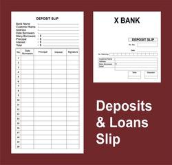 popular bank deposit and loan slips