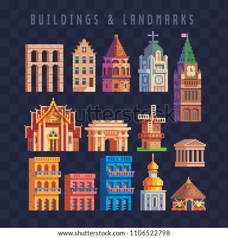 Popular buildings and landmarks pixel art 80s style icons set. Famous monuments, Tourist attraction. Thai temple. Arch of Triumph, Pyongyang. Colorful house. Isolated vector illustration. 8-bit sprite