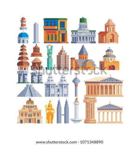 popular buildings pixel art 80s ...