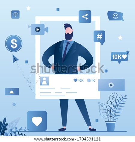 Popular celebrity account. Social media page and icons. Handsome man create video content. Online technology, video blogging. Monetization, Internet marketing and advertising. Vector illustration