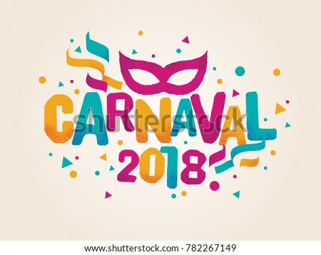 Popular Event Brazil Carnival Title With Colorful Party Elements. Travel destination in South America During Summer.