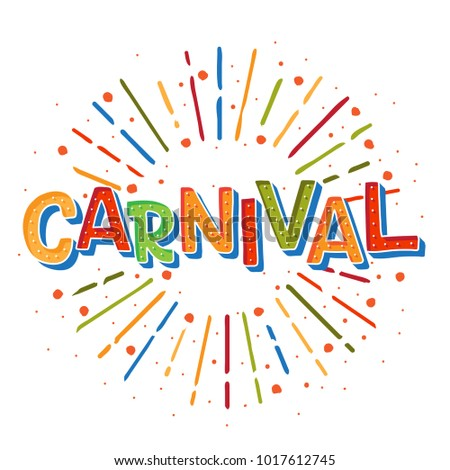 Popular Event Brazil Carnival Title With sunshine frame. Travel destination in South America During Summer. Vector logo for Carnival, poster for dance carnival show.