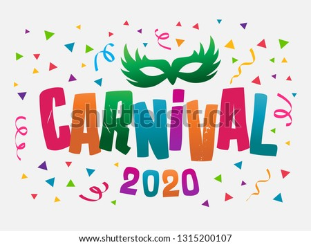 Popular Event in Brazil. Carnival Title With Colorful Party Elements. Travel destination. Carnival Festival Vector design