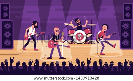 Popular rock band performs a song on stage. Concert rock stars. Vector flat illustration.