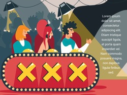 Popular Talent Show Broadcasting. Celebrities Judging Artists Participants at Entertainment on Stage, Audition. Judges Voting with Buttons on Desk with Crosses Cartoon Flat Vector Illustration, Banner