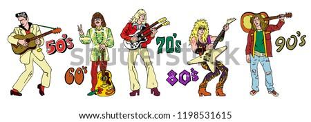 Popular 20th century rock music styles : 50s rock'n'roll, 60s hippie, 70s progressive rock, 80s glam metal, 90s grunge. Hand drawn sketchy illustration. Rock stars, guitarists.