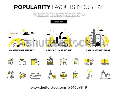 Popularity modern layouts global industry in new flat line style with gas station electrical, computers technology and loading systems development. infographics strategy program. Pictogram for design.