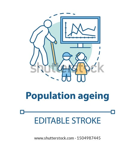 Population ageing concept icon. elderly people number increasing on planet idea thin line illustration. Demographic problems with lack of youth. Vector isolated outline drawing. Editable stroke