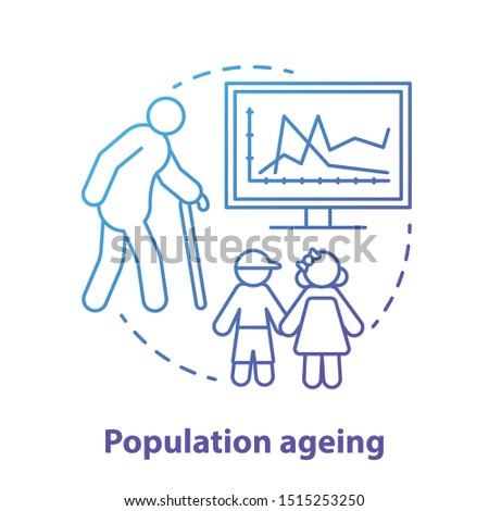 Population ageing concept icon. Elderly people number increasing on planet idea thin line illustration in blue. Demographic problems with lack of youth. Vector isolated outline drawing
