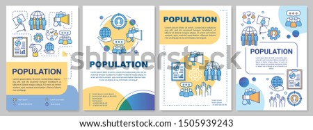 Population brochure template. Flyer, booklet, leaflet print, cover design with linear illustrations. Demographic problem. Vector page layouts for magazines, annual reports, advertising posters
