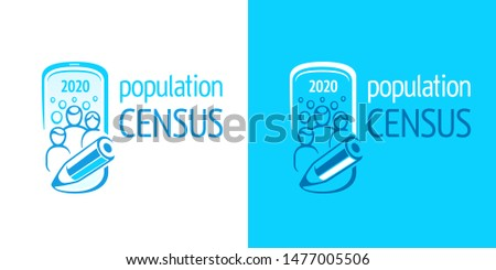 Population census. Vector logo of opinion poll or social survey. Conceptual symbol of of online counting of citizens. Frame of smartphone, crowd, family and scribe's pencil. White and blue banner