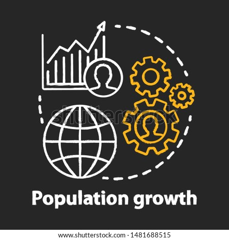 Population growth chalk concept icon. World human overpopulation idea. Increasing number of people. Demographic problem. Vector isolated chalkboard illustration
