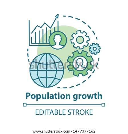 Population growth concept icon. World human overpopulation idea thin line illustration. Increasing number of people. Demographic problem. Vector isolated outline drawing. Editable stroke