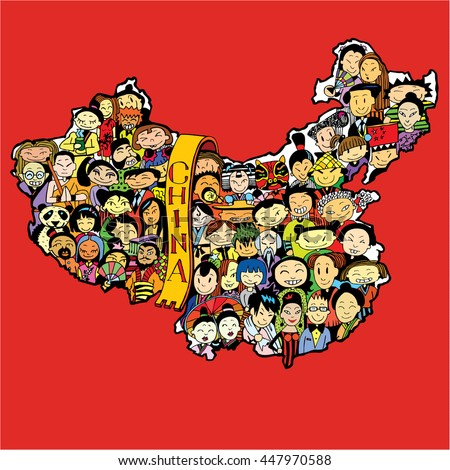 population of china cartoon
