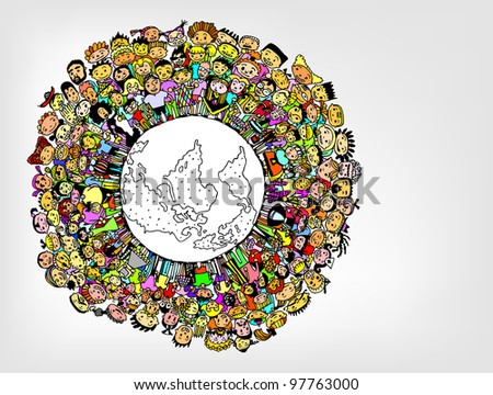 Population of Our World in Colour (vector eps10)