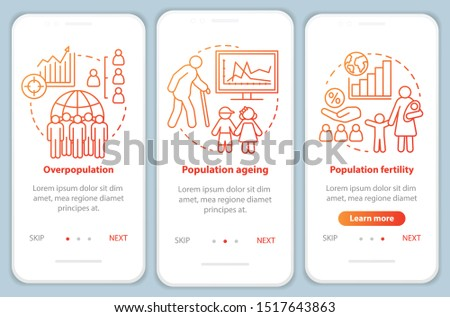 Population onboarding mobile app page screen vector template. Overpopulation & ageing. Walkthrough website steps with linear illustrations in red. UX, UI, GUI smartphone interface concept