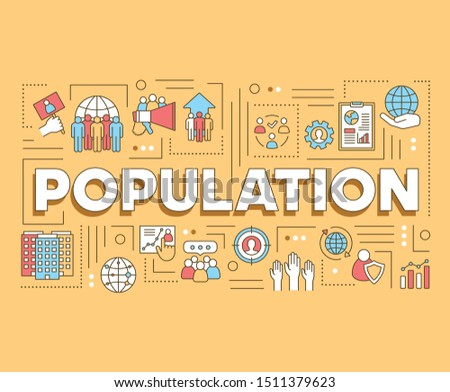 Population word concepts banner. Presentation, website. Planet overpopulation, demographic problem. Isolated lettering typography idea with linear icons. Vector outline illustration