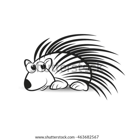 porcupine animal in outline vector drawing
