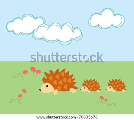porcupine mother with her children running on grass illustration