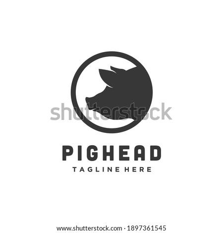 Pork head circle silhouette, meat pig restaurant and farm logo design vector icon