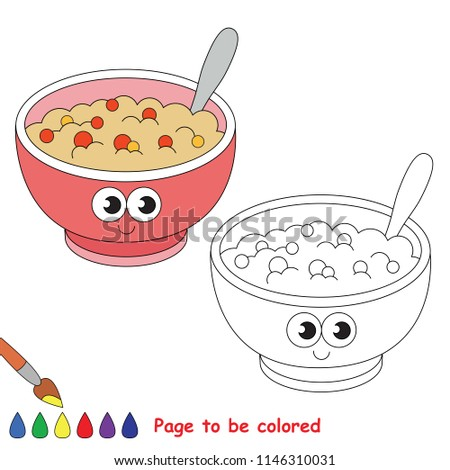 Porridge smiley to be colored, the coloring book for preschool kids with easy educational gaming level.