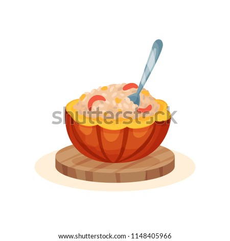 Porridge within the pot of a ripe pumpkin, organic healthy autumn food vector Illustration isolated on a white background