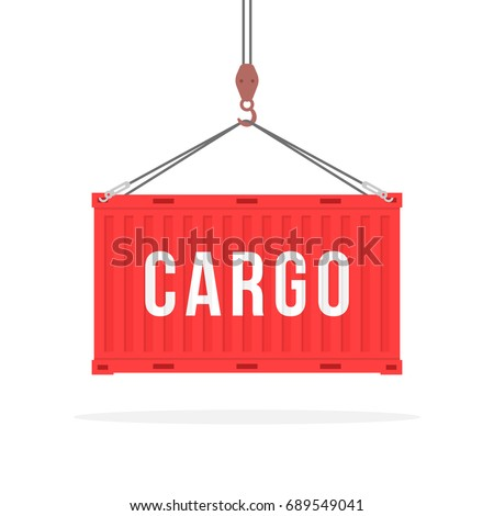 port crane lifts red container. concept of worldwide delivery by marine transport or goods distribution to world. flat style trend modern logo graphic design illustration isolated on white background
