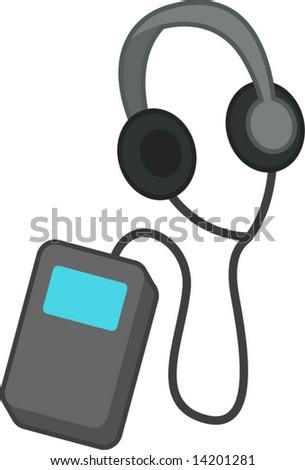 portable audio player with headphones