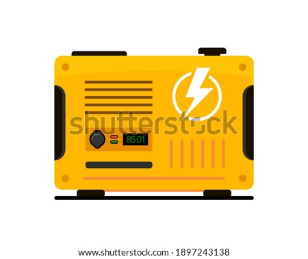 Portable electric power generator. Electric charger diesel portable flat generator icon Foto d'archivio ©