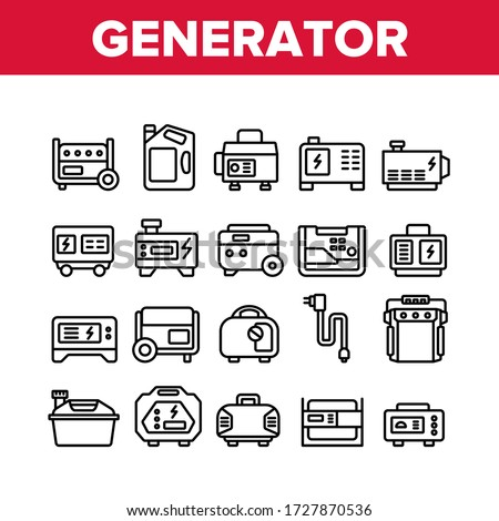 Portable Generator Collection Icons Set Vector. Generator Equipment For Generating Electricity, Fuel Bottle Package And Electrical Cord Concept Linear Pictograms. Monochrome Contour Illustrations Foto d'archivio ©