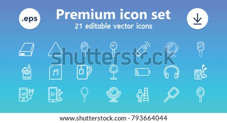 Portable icons. set of 21 editable outline portable icons includes mirror, mp3 player, tea cup, triangle musical instrument, phone and earphones, memory card with music