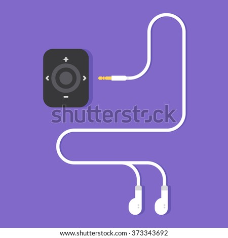Portable music device. Modern mp3 player with earphones. Vector flat illustration
