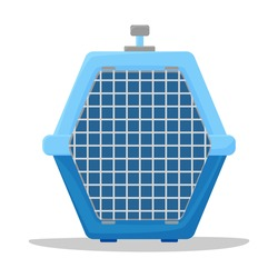 Portable pet cage, carriers for dogs and cats cartoon style. Plastic container for animals. Vector illustration isolated on white background.