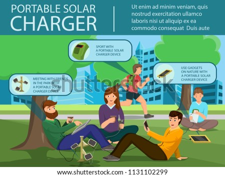 Portable Solar Charger. Solar Panel and Power Generation System. People Charges Smartphone from Solar Recharge Battery. Ecological Renewable charging System. Flat Design Vector Concept Illustration. #1131102299