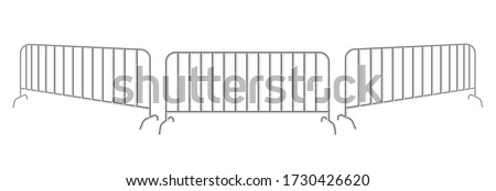 Portable steel fence. Steel construction element. Urban metal barrier isolated on a white background. Foto d'archivio ©
