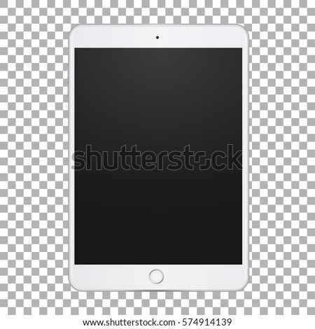 Portable touch tablet with empty screen for demonstration your design, site, application, promo on transparent background. Vector illustration.