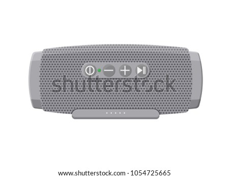 Portable wireless speaker. Audio device connected with smartphone to play music. Vector illustration in flat style