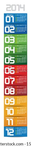 portable 2014 year vector calendar