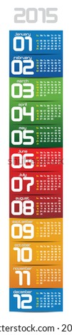portable 2015 year vector calendar